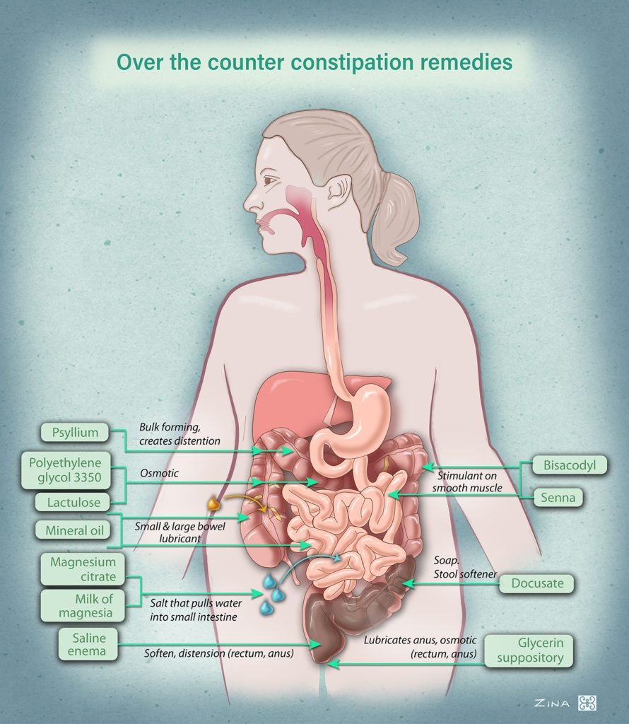 Location and mechanism of action of common over-the-counter constipation medicines.
