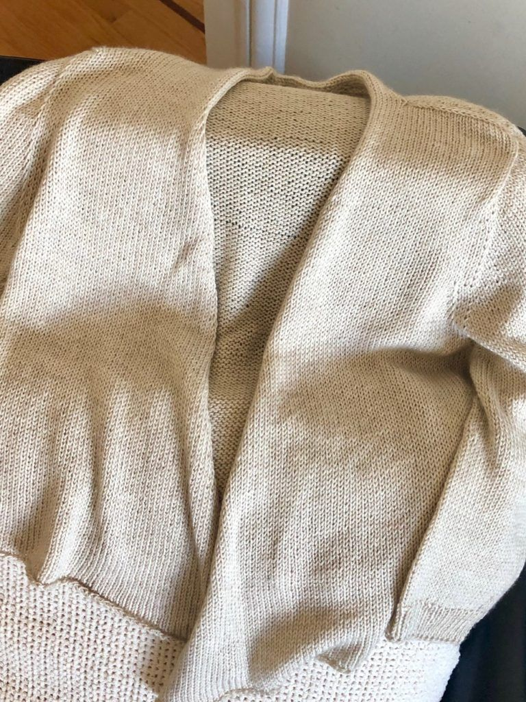 Rebecca's sweater knit during chemotherapy
